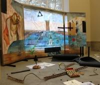 Projekt Furtwängler Triptychon 430 cm x 210 cm Öl, Kreide, Lack, Eitempera auf LW Video Readymades Objets trouvés Zeichnungen 2