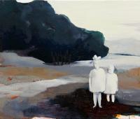 Die Geschwister dieser Sommer, 2017, Tusche und Öl auf Leinwand, 37 x50 cm